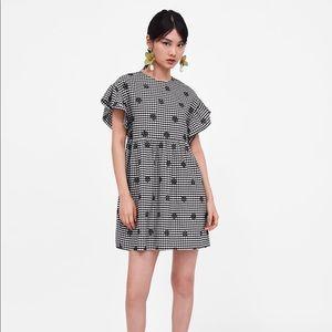 ZARA basic Embroidered Vichy checkered dress
